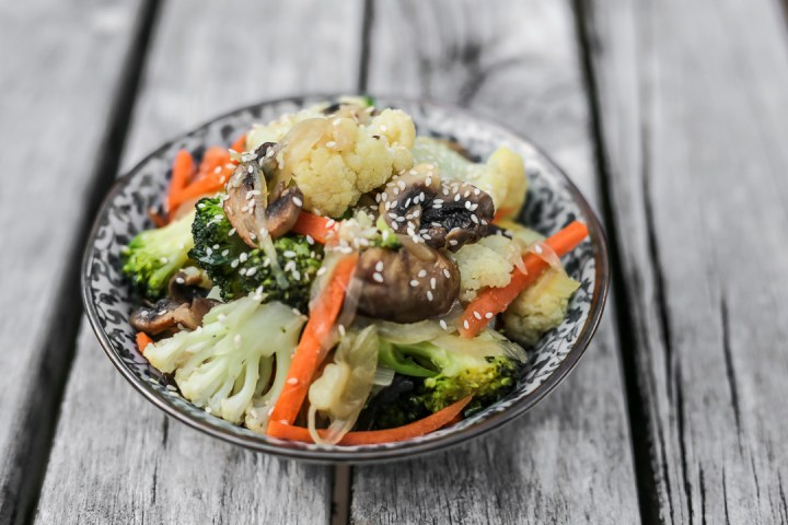 Cauliflower and Broccoli Stir Fry Wide
