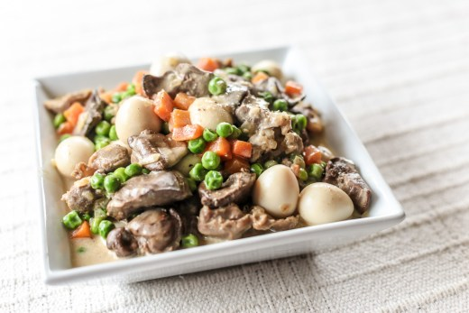 Chicken Liver, Gizzard and Quail Eggs with Green Peas 1