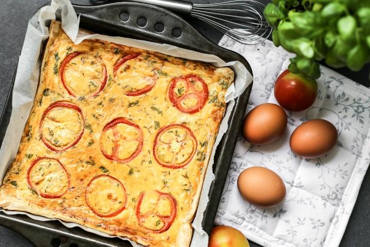 Tomato, Basil, Champagne Ham Quiche Wide