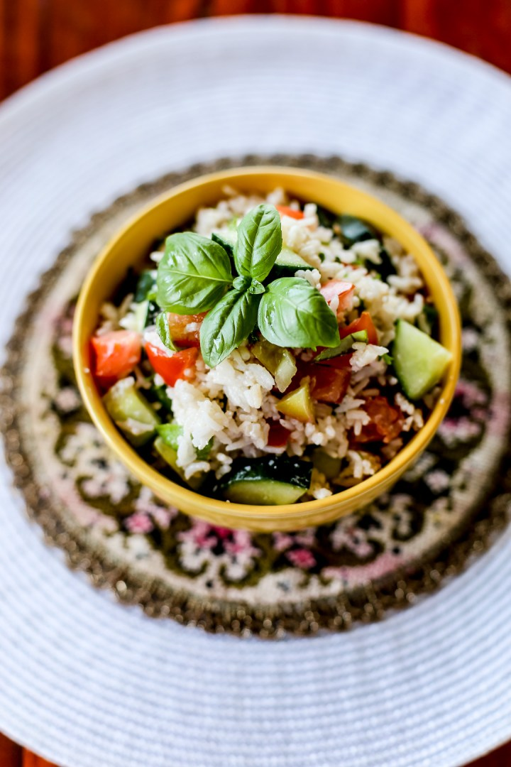 Tomato Basil Cucumber Salad with Feta Cheese and Rice