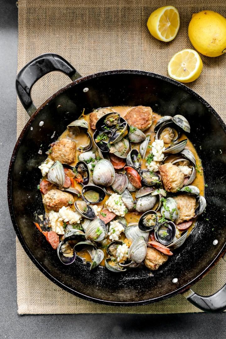 Spanish Meatballs with Clams, Chorizo & Squid