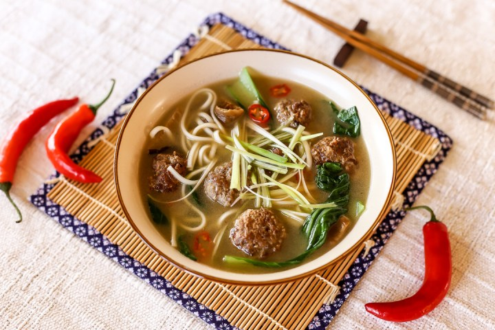 Spicy Meatball Udon Soup Wide