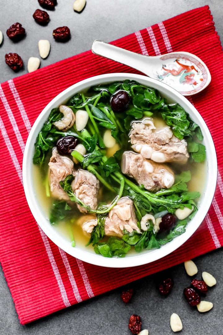Watercress with Pork Rib Soup