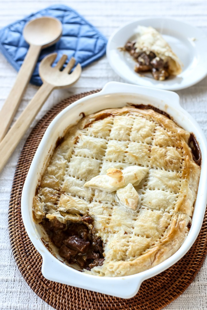 Beef, Mushroom and Cheese Pie Open
