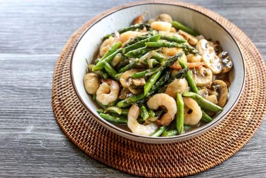 Asparagus, Prawn and Mushroom Stir Fry 1