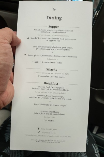 Airline Food Cathay Pacific 2019 09