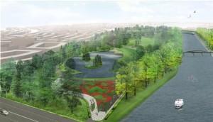 Het Noorderpark. Impressie van landschapsarchitect West 8