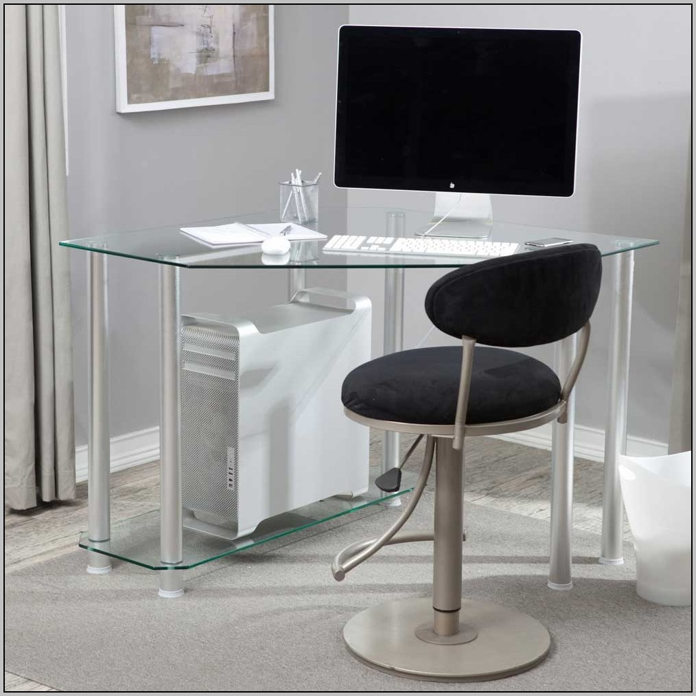 Black Glass Computer Desk Ikea Desk Home Design Ideas