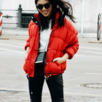 :: Outfit – Red Padded Puff Jacket