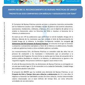 Anhipa Recibe El Reconocimiento de Buenas Prácticas de Unicef