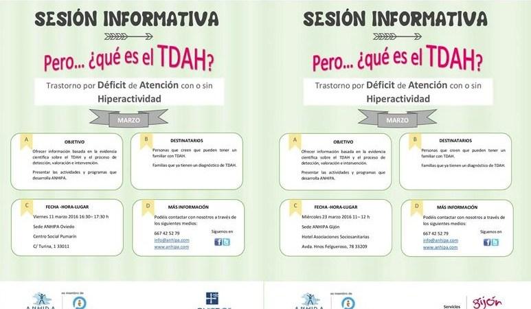 Nuevas Fechas Sesiones Informativas TDAH Mes de Marzo en Oviedo y Gijón
