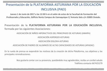Presentación PLATAFORMA ASTURIANA POR LA EDUCACIÓN INCLUSIVA