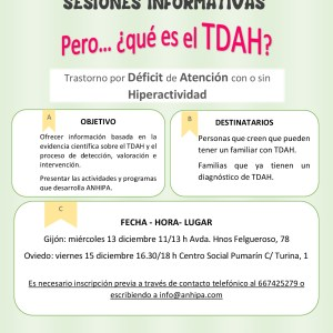 Sesiones informativas sobre TDAH mes diciembre en Oviedo y Gijón