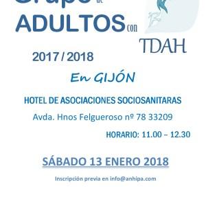 Grupo de personas adultas con TDAH. Calendario 2º Trimestre 2017/2018