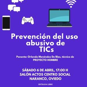 """XXV ENCUENTROS CON ANHIPA """"Prevención del uso abusivo de las TICs"""" Sábado 6 de Abril a las 17 h en el Centro Social Naranco en Oviedo"""