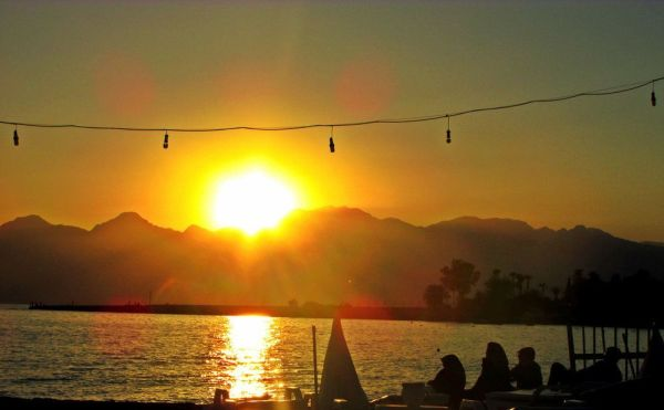 Incredible sunset in Lara Beach (Antalya).