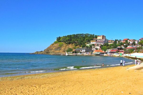 Kilyos, Istanbul. The golden sands of Kilyos beach and the Black sea waters.