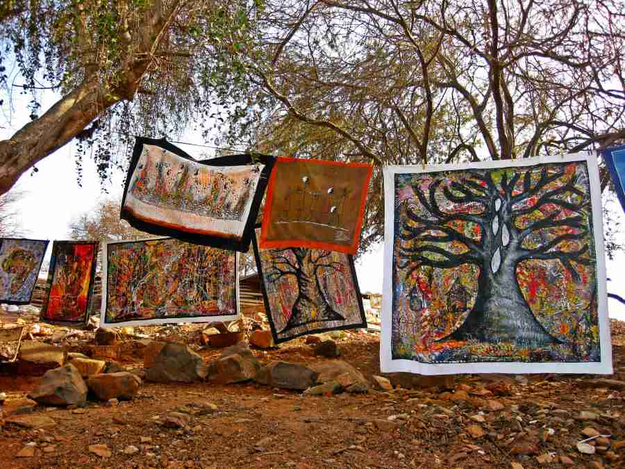 Colorful African paintings in Island of Goree.