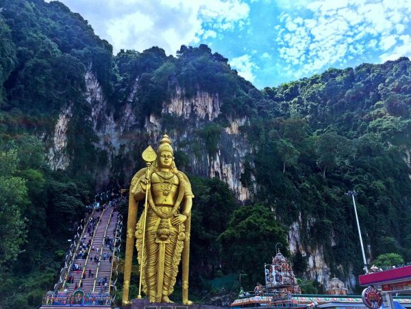 Batu Caves, Kuala Lumpar. To the right of the stairs is the worlds largest statue of Lord Murugan (43 meter high),