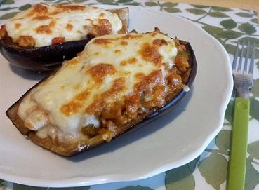 receta berenjenas rellenas de carne y bechamel