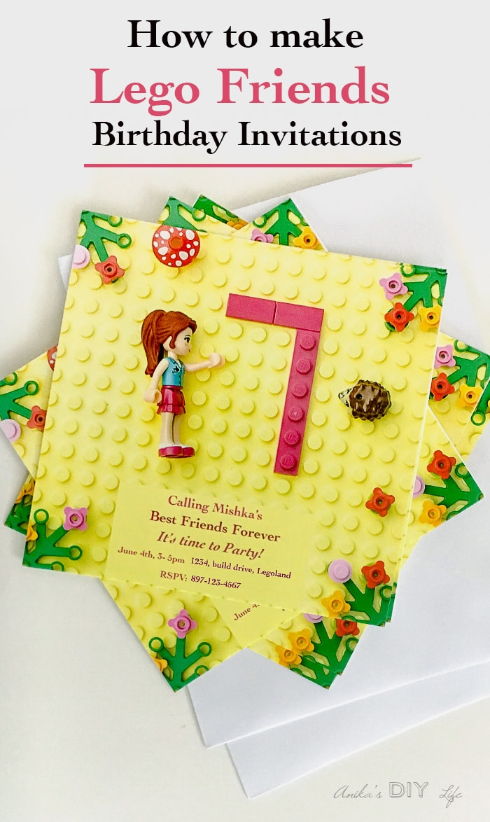 How To Make A Lego Friends Party Invitation Anika S Diy Life