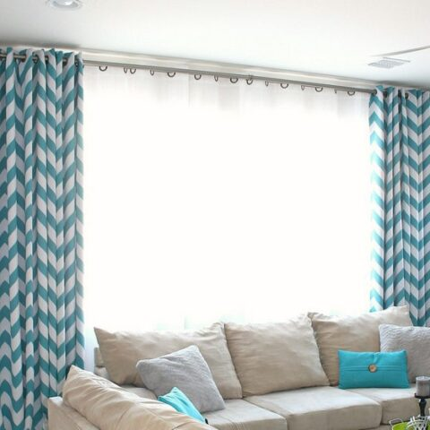 diy curtain rods with electrical conduit