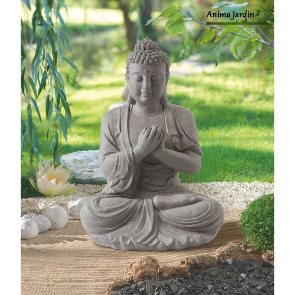 statue buddha 60 cm en fibre de verre aspect pierre decoration de jardin