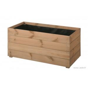 bac rectangulaire essencia de 80 cm en bois autoclave bac a fleurs plantes pas cher achat