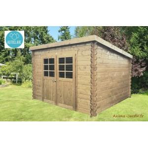 abri de jardin en bois traite autoclave 28mm riom 6m 2 portes monopente solid pas cher