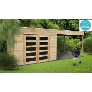 abri de jardin avec avancee en bois autoclave 19mm salerno 5m double porte solid pas cher achat