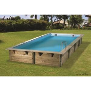 piscine linea 6 50m x 3 50 m x h140cm rectangulaire entourage bois ubbink qualite achat vente pas cher