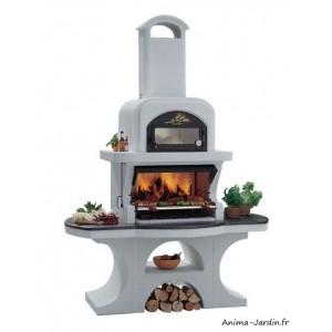 barbecue en pierre capri 2 avec hotte ciment charbon de bois palazzetti achat pas cher