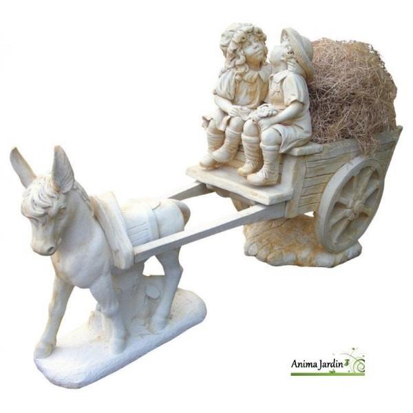 statue en pierre reconstituee caleche aux enfants ane achat vente decoration de jardin