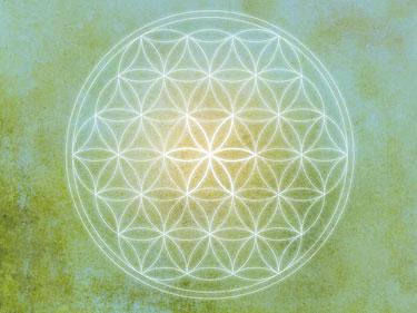 Wandbilder, Flower of live, Blume des Lebens, blau, grün, gelb und weiss, Harmonisierung vom Mensch und Raum, Seelenwellness