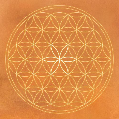 Blume des Lebens orange, orange, orange kraft, sand, Harmonisierung vom Mensch und Raum, Wandbild, Feng Shui Bild, Wanddeko, Leinwandbild, Farbwirkung,Wandbild Blume des Lebens orange