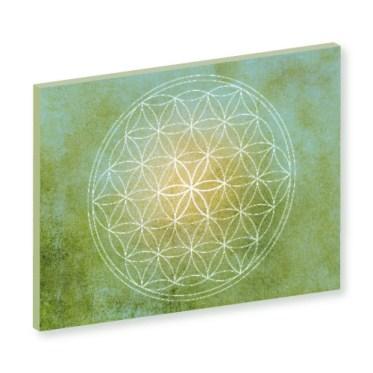 Blume des Lebens, grün, green, gruen, gelb Harmonisierung vom Mensch und Raum, Wandbild, Feng Shui Bild, Wanddeko, Leinwandbild, Farbwirkung