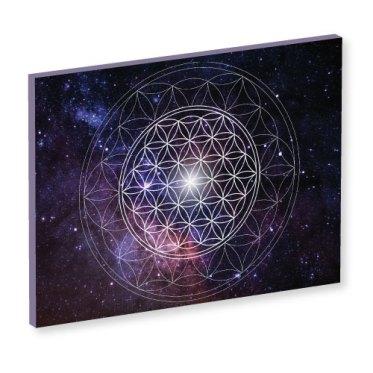 wandbild, Blume des Lebens, universum, wanddeko, leinwandbild, nachtblau, ulramarin, feng shui bild, mystisch, feinstoffliche energie, leinwandbilder, wandbilder, blau, sterne, galaxie, weltall, all, bild all, bild weltall, bild universum
