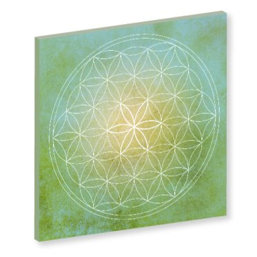 Blume des Lebens grün, grün, green, gruen, gelb Harmonisierung vom Mensch und Raum, Wandbild, Feng Shui Bild, Wanddeko, Leinwandbild, Farbwirkung