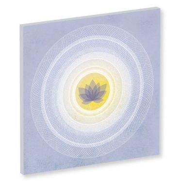 Wandbild Mandala Lotus, Lebendigkeit und Klarheit, blasses blau weiss und gelb, Harmonisierung vom Mensch und Raum, Seelenwellness, Leinwandbild, Feng Shui, Bagua Norden, Leinwandbild, wanddeko, yogastudio, bilder für das yogastudio, Wandbilder, Mandala Art Work