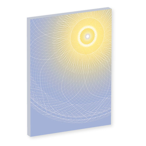 mandala art work, Wandbild Lichtstrahl, Wanddesign, Mandala mit Lichtkern, Blau und gelb, seelenwellness, Wanddesign, tapete, schöner wohnen, Feng shui , Leinwandbilder, Leinwandbild, yoga nidra