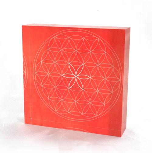 Blume des Lebens 3d, acrylglas, leuchtkraft, rot, rote farbe, dekogegenstand,