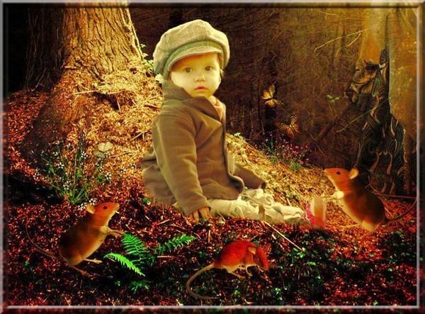 kindje in de herfst