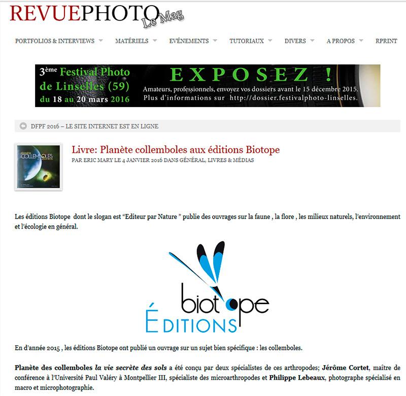 RevuePhoto, le mag, article sur le livre : Planète Collemboles