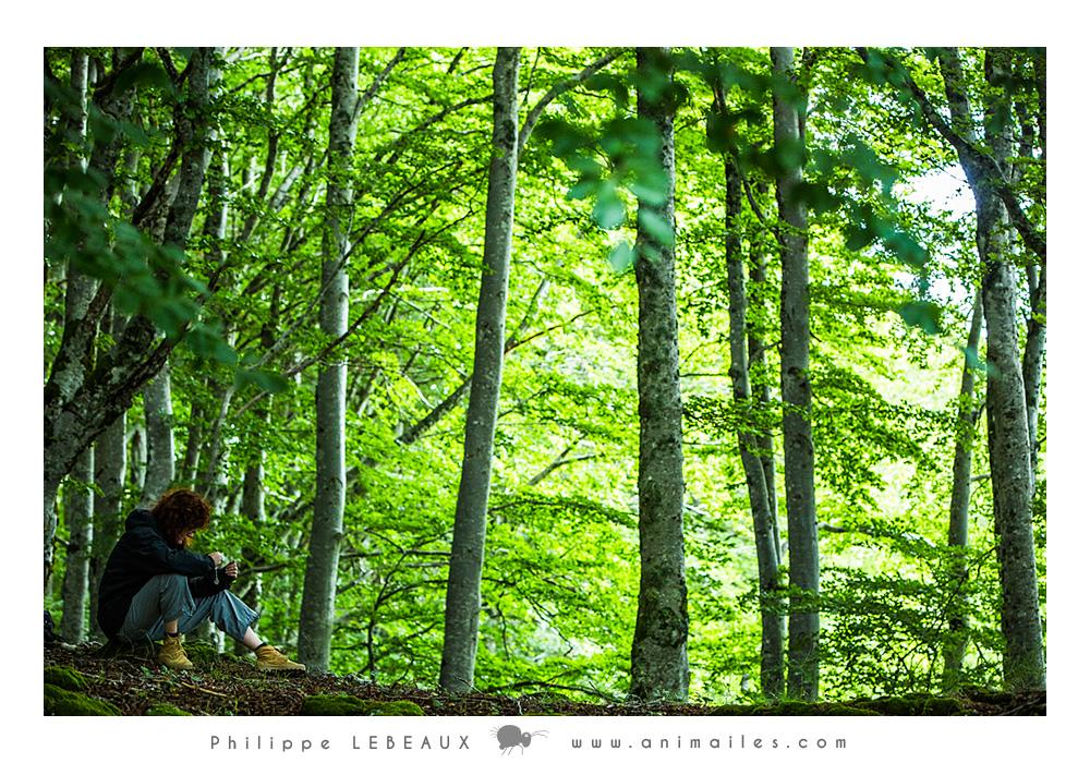 Méditation en forêt d'une randonneuse