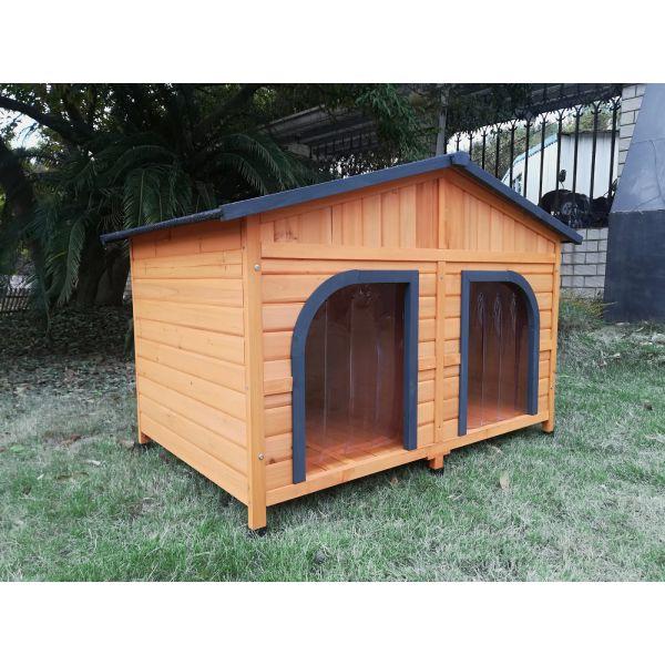 niche pour chien double toit shingle noir taille l
