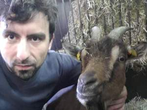 Christian Nawroth with goat