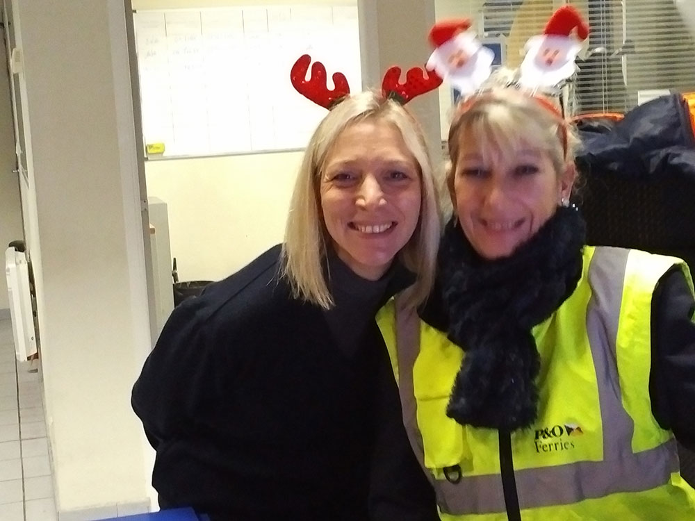 Lovely P&O staff at Calais wishing us 'joyeux Noel'