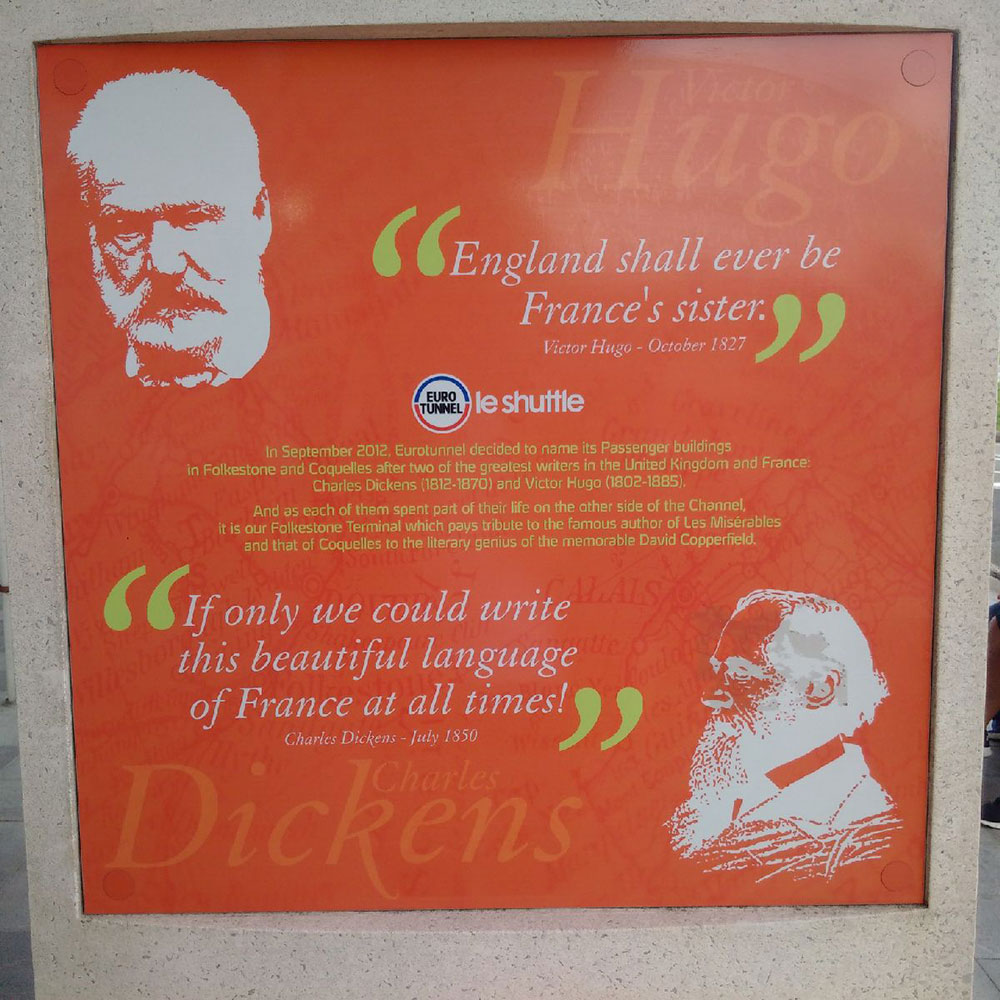Did you know the passenger buildings at either end of the Eurotunnel are named after Victor Hugo and Charles Dickens?