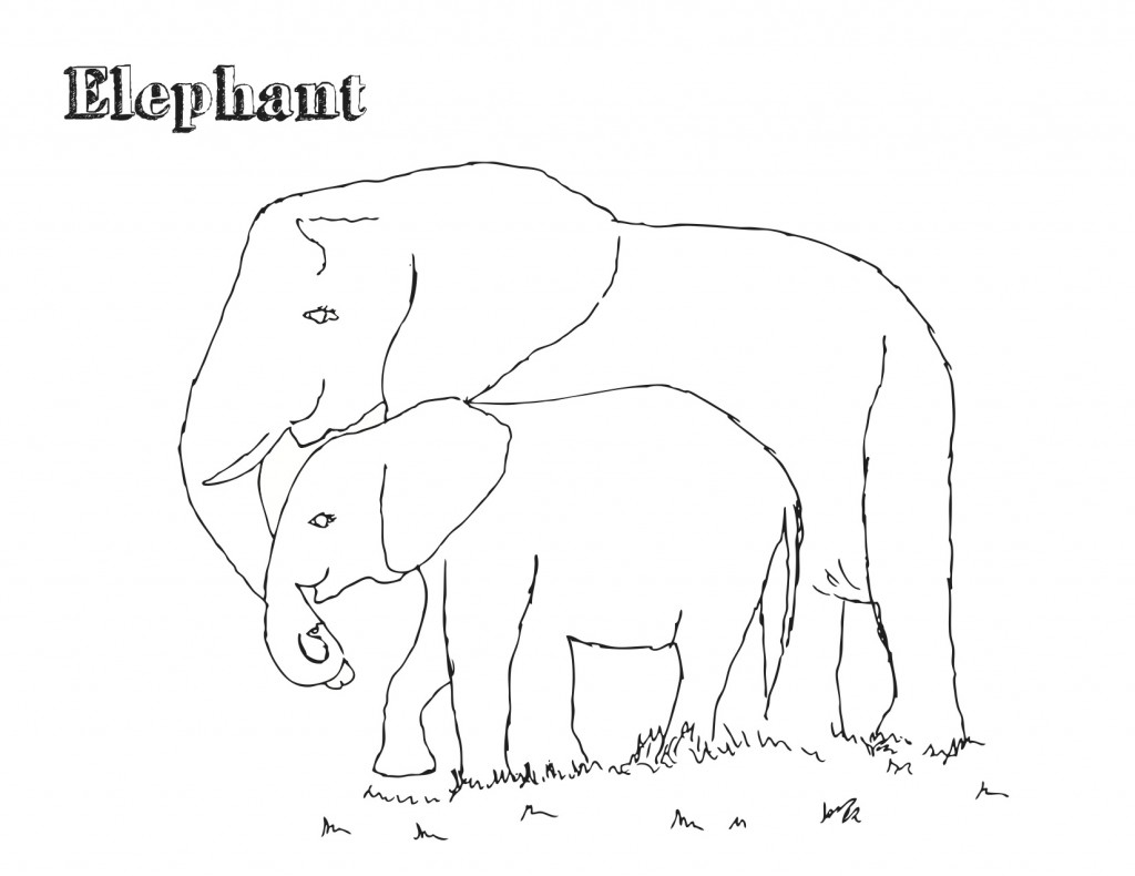 Printable Elephant Coloring Page Image Animal Place