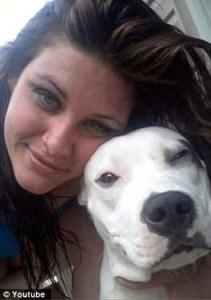 Griffin-Heady and one of her pit bulls.